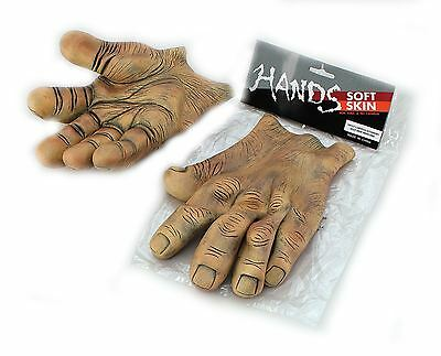 Giant Brown Vinyl Hands Monster Halloween Fancy Dress Horror Outfit Accessory