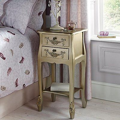 Rococo French Style Bedside Telephone Table Gold Cabinet Night Stand