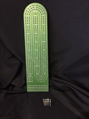Green Anodized 3 Track Aluminum Cribbage Board with Peg Storage by Gapple