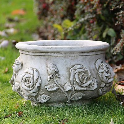 Rose Flower Pot Planter Stone Garden Ornament Hand Cast Decor Home Patio