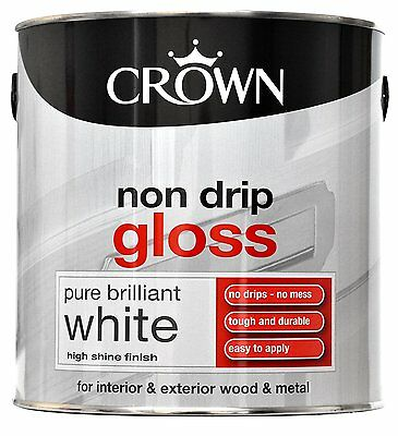 Crown Paint 2.5L - Non Drip Gloss For Interior & Exterior Wood & Metal- White