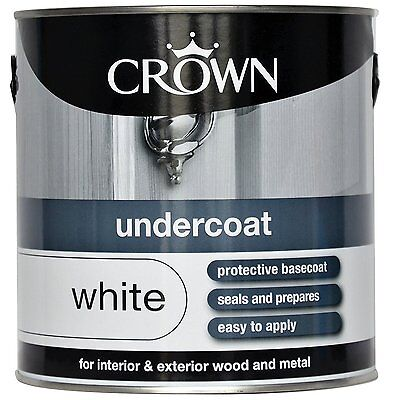 Crown Paint 2.5L - Undercoat For Interior & Exterior Wood & Metal- White