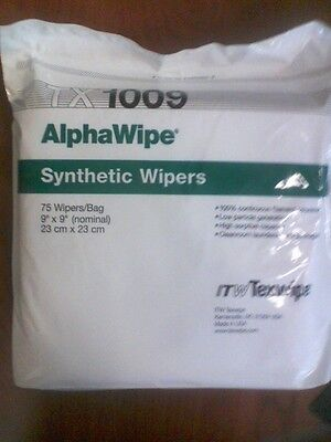 "Itw Alphawipe Tx-1009 Synthetic 9"" X 9"" Nominal Wipers - 75 Wipes Per Bag"