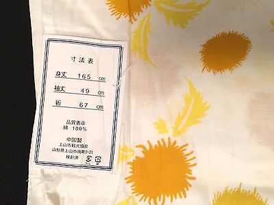 UNUSED Japanese cotton summer yukata kimono for women, white/flowers (J571)