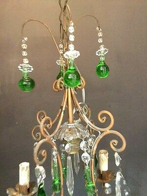 Vintage Crystal With Handblown Murano Glass Drops Chandelier