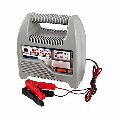 6 AMP 12v Battery Charger Home Van Car Bike Battery Charger Heavy Duty Grey