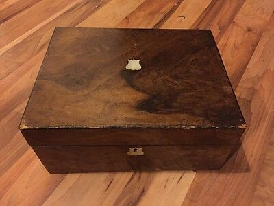 Beutiful Antique Mother Of Pearl Inlaid Shabby Chic Storage Box