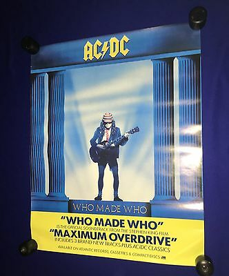 vintage 1986 AC/DC ACDC Who Made PROMO POSTER Atlantic UNUSED Maximum Overdrive