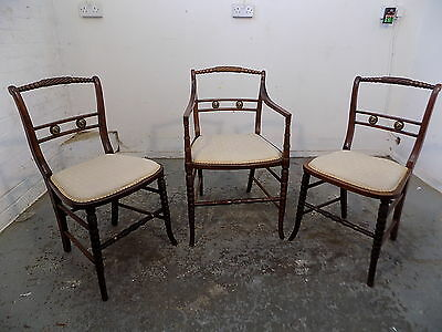 3,antique,victorian,beech,chairs,bedroom,hall,bathroom,dining,pair,carver,chair
