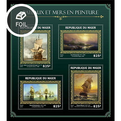 Z08 IMPERFORATED NIG16421a NIGER 2016 Ships and sea in paintings MNH