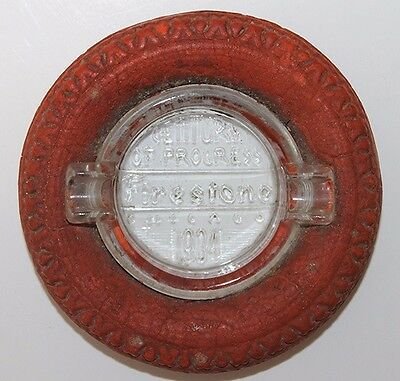 Rare Red Tire 1934 'Century of Progress' Firestone Promotional Ashtray