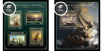 Z08 NIG16421ab NIGER 2016 Ships and sea in paintings MNH Set