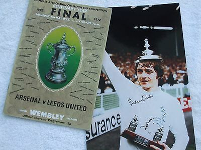 LEEDS UNITED v ARSENAL FA CUP FINAL PROGRAMME PLUS SIGNED PHOTO OF ALAN CLARKE