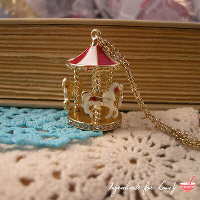 Carousel Charm Necklace - Circus Carousel Pendant Red and White w/ Gold Chain