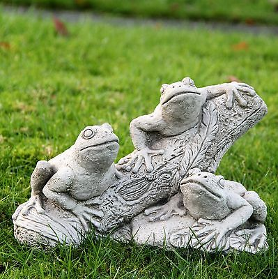 Frogs On Log Garden Ornament Stone Statue Hand Cast Patio Decor Gift