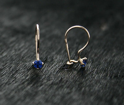 585 Russian Rose Gold 14ct Delicate 3mm Blue Fianit Hook Earrings Gift Boxed