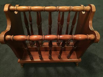 Vintage Mid Century Solid Wood Magazine Rack Spindled by Northwest Chair Co USA