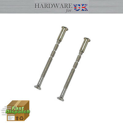2 X M4 Chrome Screw Connecting Bolts & Sleeves For Door Handle & Escutcheons