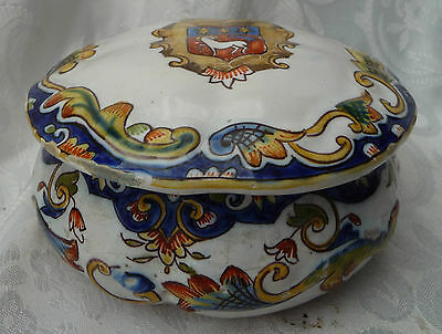 rouen crested pot french faience french breton quimper style storage display