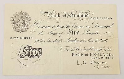 Great Britain Bank of England 1956 5 Pounds White O'Brien C37A Note (#3917)