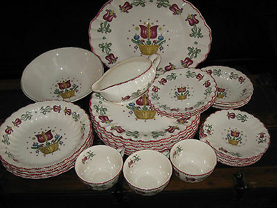 27 PC Vintage Collectible American Limoges Old Dutch Pattern Bowls Plates Cups