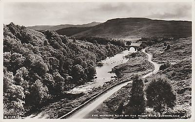 Sutherland - Winding Road By River Shin - Real Photo - Postcard