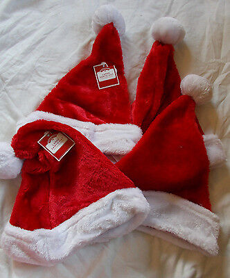 Lot of 4 Plush Large Santa Hats Red & White New