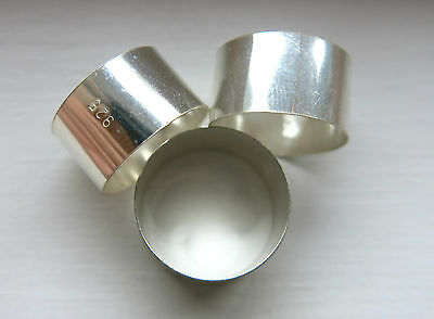 3 STERLING SILVER BANDS 925 FOR TABACCO PIPES 18 TO 20mm INS.DIA. BY 11 mm WIDE