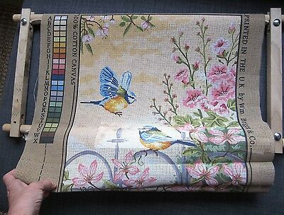 """Anchor Tapestry Canvas + Rotating Frame """"Floral Railings"""" MC163 Birds Floral"""