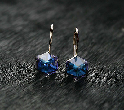 585/14ct Russian Rose Gold Swarovski Elements Blue Cube Hook Earrings Gift Boxed
