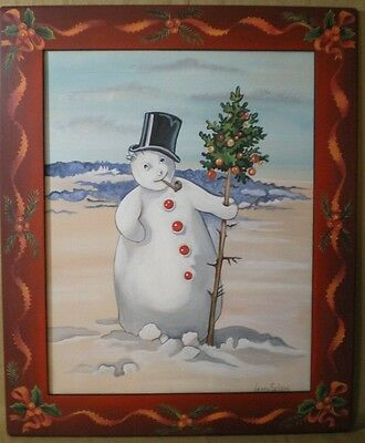 Christmas/Snowman canvas Folk art painting-wood frame-Jenny Salsini