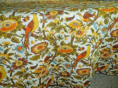 Vintage 70s Golden Pheasants Birds Floral Upholstery Fabric Imported Union Linen