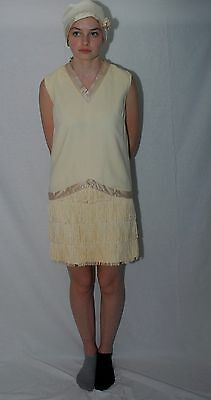 Hand Stitched  Ivory/Beige Flapper Dress with Matching Hat Created from Vintage