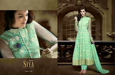 Indian Pakistani Embroidered  Party Wear Ladies Long Anarkali Dress Mint Green