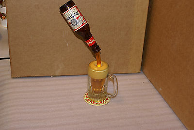 Vintage Budweiser Floating Bottle Pouring into Glass Advertising Counter Display