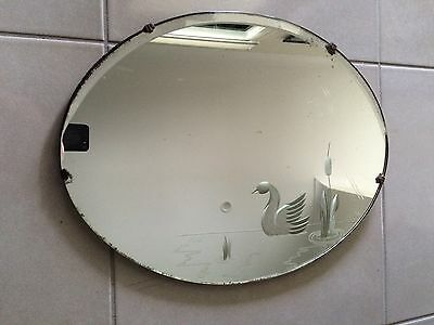 Antique bevelled mirror etched swan