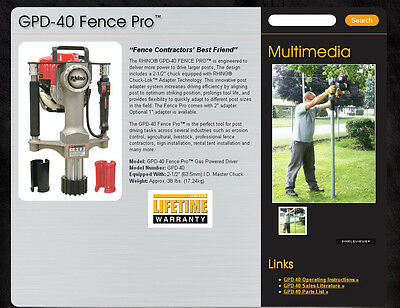 RHINO GPD-40 Gas Powered Fence Post Driver FREE SHIPPING TO CONT US