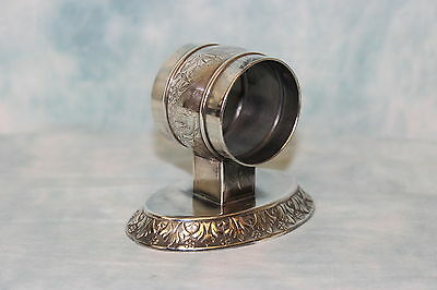 Meridian Silverplate Co. Victorian Silver Napkin Ring with base Heavily Embossed