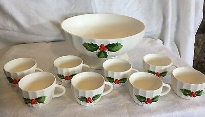 Vintage Holt Howard Christmas Punch Set Bowl 8 Cups Holly & Berries