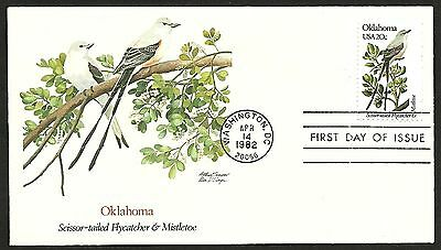 """US FDC 1982 First Day Cover """" Birds and Flowers of the 50 States"""" OKLAHOMA"""