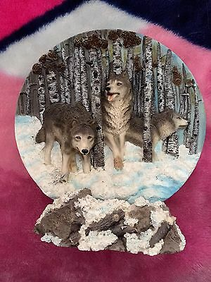 Wolf Wolves in the Snow Forest Plate & Stand