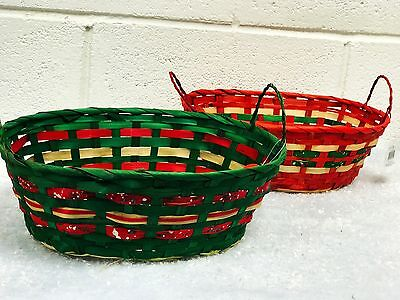 2 Bamboo Wicker Hamper Baskets With A Christmas Touch