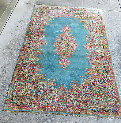 9' X 6' Vintage Persian Kirman Kerman Rug Medallion Hand Knotted Wool Blues
