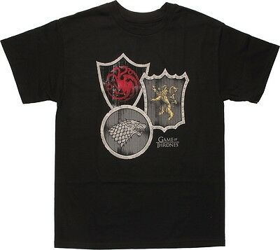 HBO Game Of Thrones HOUSE SHIELDS STARK TARGARYEN LANNISTER T-Shirt NWT Licensed