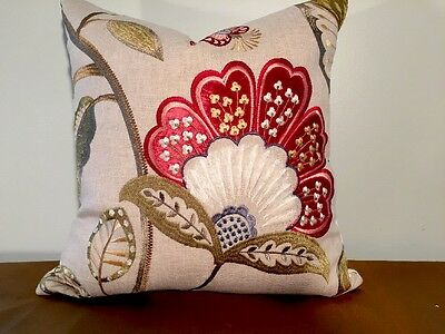 Scalamandre Willowood Embroidery Linen Viscose Pillow