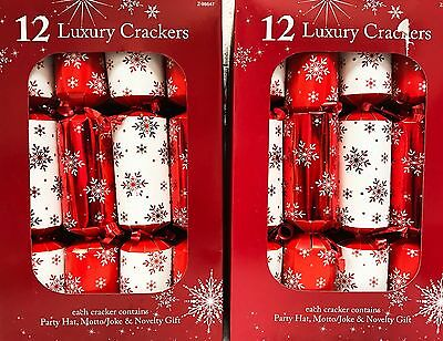 12x red and white LUXURY CHRISTMAS CRACKERS - 24 & 48 PACK