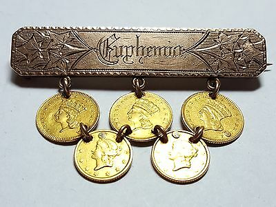 Vintage 19th Century Gold Brooch Set with Five $ Gold Coins WOW 3300