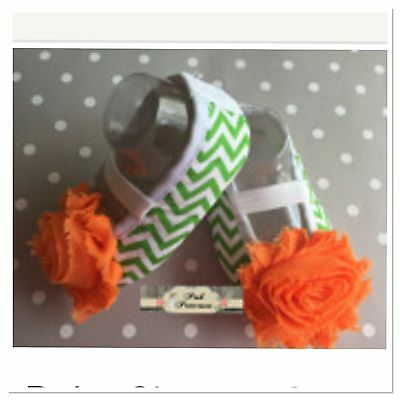 "Baby Chevron Shoes With Flower, Crib Shoes, 3-6 M Measures 4"" Green & Orange"