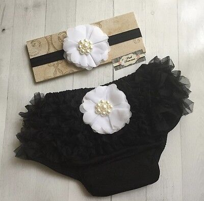 Baby Bloomer Set, Newborn Headband And Bloomers Set, Black & White
