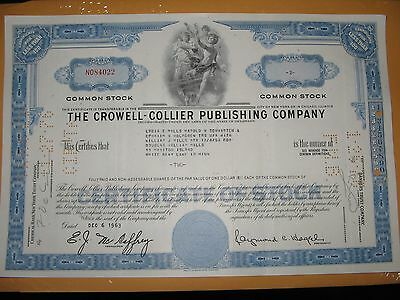 The Crowell-Collier Publishing Company Stock Certificate ( 1963 )